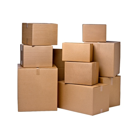 cardboard boxes isolated photo
