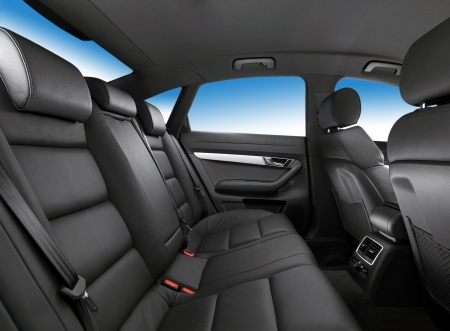 car seat: car interior, passenger places with leather close up Stock Photo