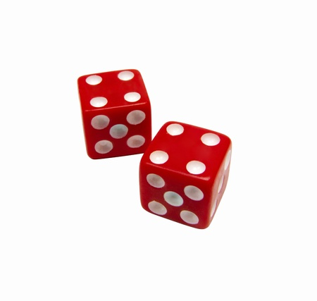 craps: red dice isolated on white Stock Photo