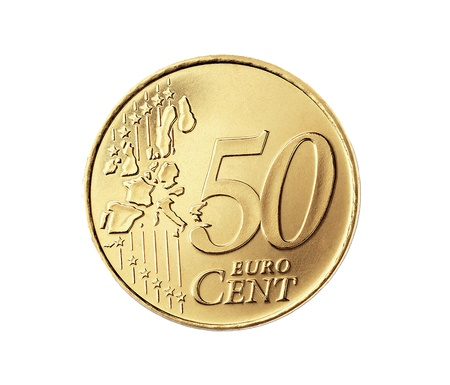 50 euro: 50 euro cent isolated on a white background