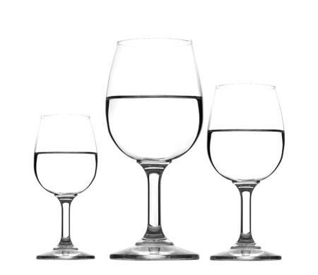 three glass of water half empty isolated photo