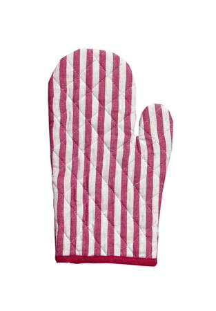 Pink striped kitchen glove isolated on white photo
