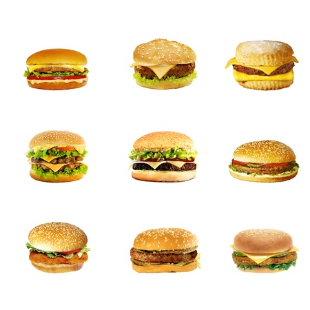 Hamburgers and cheeseburgers isolated on a white photo