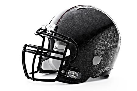Black Hockey helmet under the white background photo