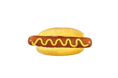 Freshly grilled hot dog with yellow mustard Stock Photo - 14059917