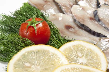 smoked fish slices close up Stock Photo - 14062411