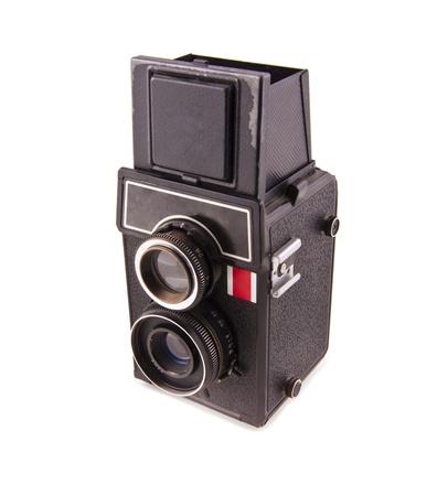 folding camera: Twin lens reflex old photo camera isolated on white Stock Photo