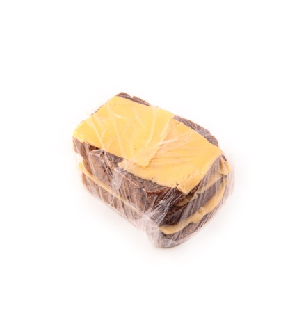 Bread and cheese isolated photo