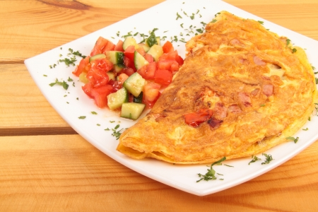 Bacon omelet with vegetables photo