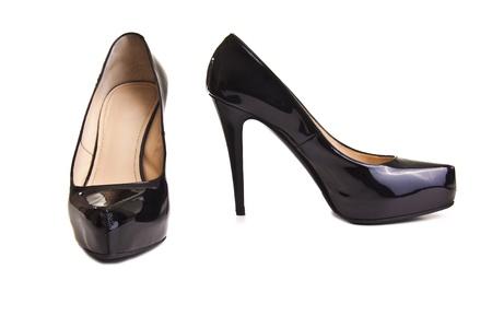 black female shoes on a white background photo