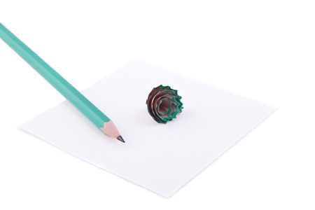 memorise: paper and pencil isolated Stock Photo