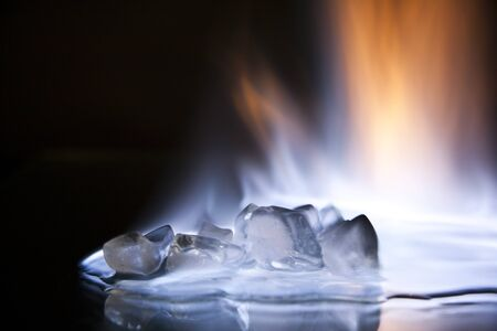 cubes engulfed in flames photo