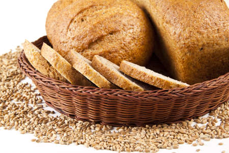 Fresh bread isolated on a white background photo