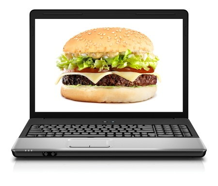 Laptop computer close-up with hamburger