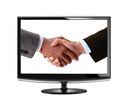 handshake in LCD monitor photo