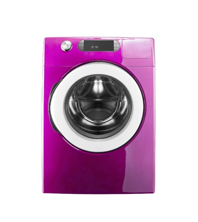 pink washing machine isolated on white background photo