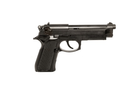 Modern Gun on white background close up photo
