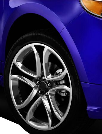 mag: Isolated Car Tyre With Drop Shadow close up Stock Photo