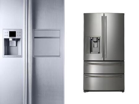 nevera: Los refrigeradores modernos aislado en blanco Foto de archivo