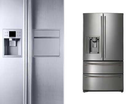 refrigerator: Modern refrigerators isolated on white