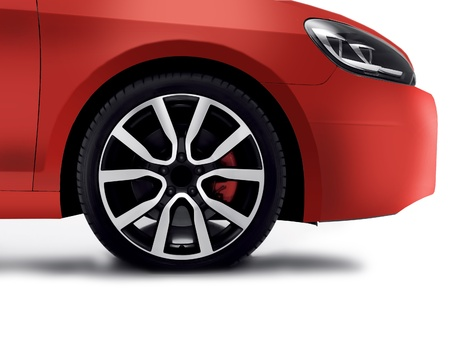 Cherry red car front detail with big light-alloy wheel Stock Photo - 14094395