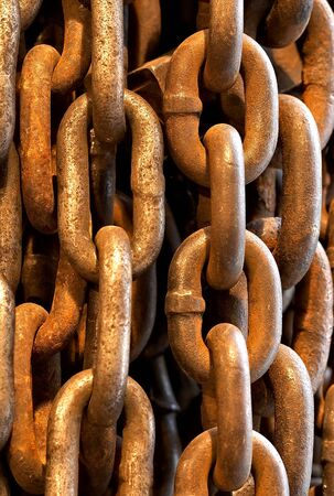 Abstract of Thick Rusty Chain Background Image  photo
