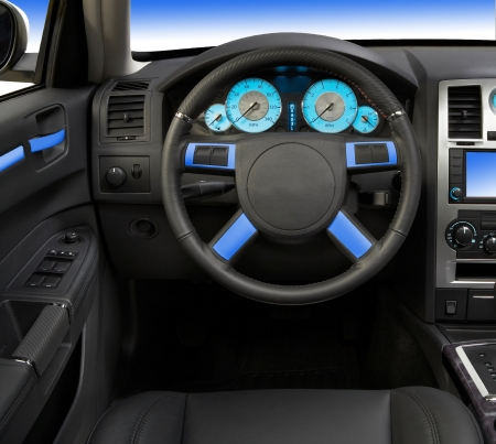 Modern car interior close up isolated on photo