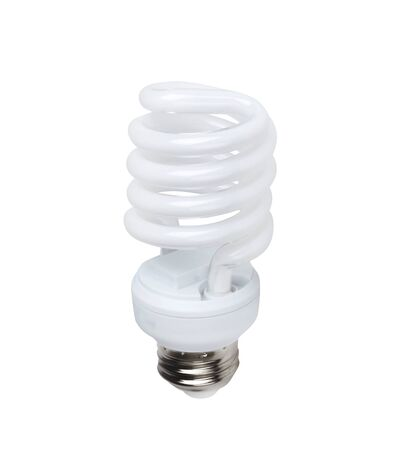 Energy saving fluorescent light bulb on white photo