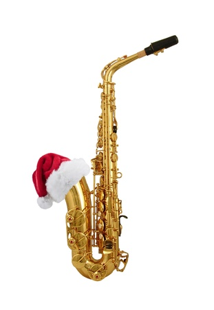 saxophone: saxophone with santa hat Stock Photo