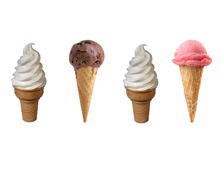 Assorted ice cream in sugar cones isolated on white background photo