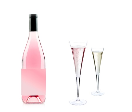 Pink champagne bottle and glass Stock Photo
