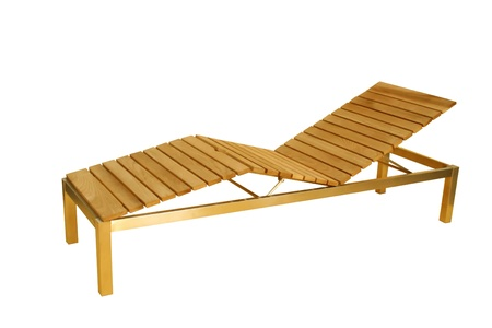 Wooden deck chair isolated on white background Stock Photo - 14081719