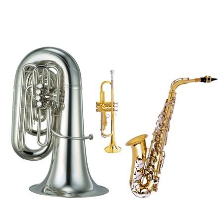 saxophone, cornet and trumpet photo