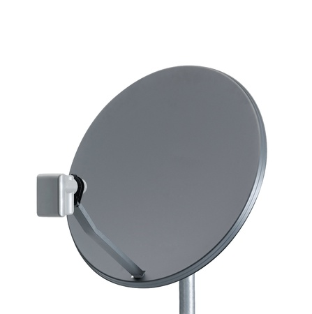 parabolic mirror: Receiver.Satelite dish close up on white background Stock Photo