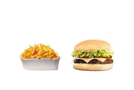 chicken burger: Delicious cheeseburger with fries