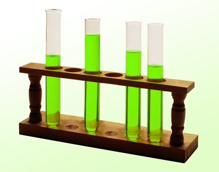 serology: test tubes with green liquid isolated on white