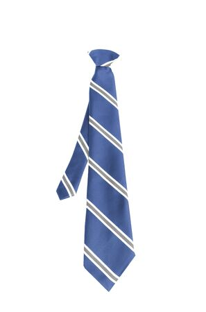 ironed: blue tie isolated on white background close up