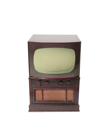 Front of 1960s old television on a white background photo