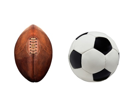 Football and rugby ball isolated photo