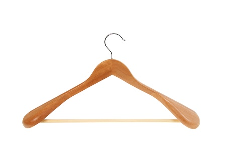 Coat hanger isolated on white photo