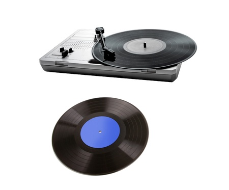 Retro portable turntable isolated and vinyl photo