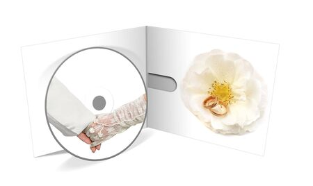 married hands CD isolated on white background photo