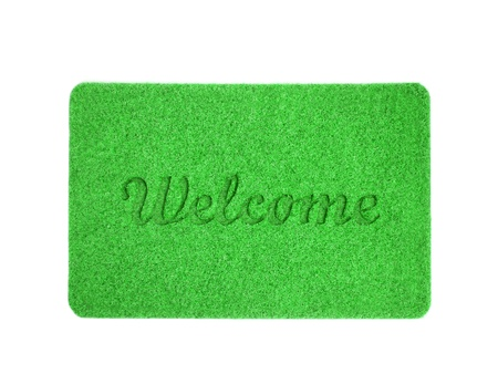 Welcome mat isolated over white photo