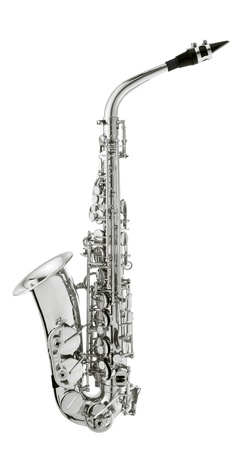 silver saxaphone on the white background photo