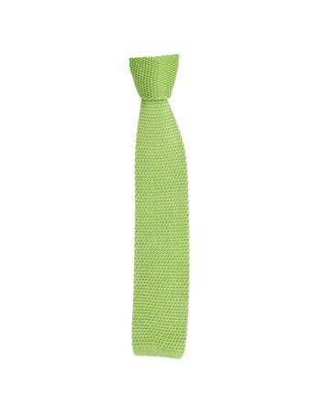 ironed: tie on wooden hanger isolated on white