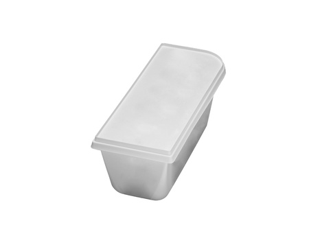 Plastic rectangular container for dairy foods photo