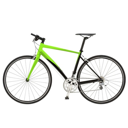 Green bike detail isolated on white background photo