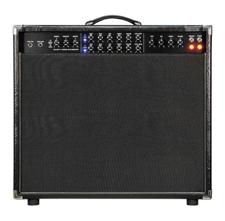 reverb: Guitar amplifier isolated on white. Stock Photo