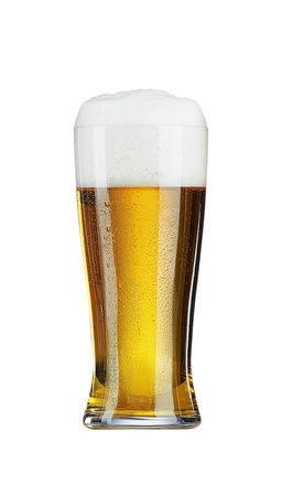 Glass of beer with isolated on white photo