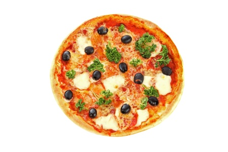 pizza with olives isolated on white photo